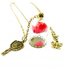 Collana LA BELLA & LA BESTIA - Rosa INCANTATA nella teca - Bronzo - High Quality Necklace