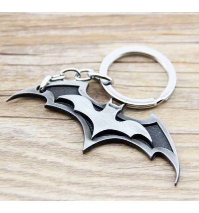 Portachiavi BATARANG di BATMAN in metallo placcato - argentato e nero - DC High Quality Keychain