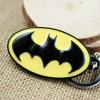 Portachiavi LOGO di BATMAN in metallo placcato NERO in ovale GIALLO - DC High Quality Keychain