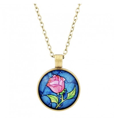 Collana LA BELLA & LA BESTIA - ROSA INCANTATA Bombato in VETRO - Bronzo - Disney - High Quality Necklace