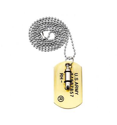 Collana TARGHETTA MILITARE JOHN RAMBO con PROIETTILE -  High Quality Necklace