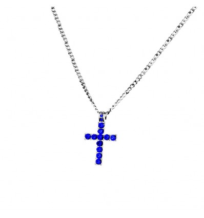 Collana Croce di Dominic Toretto - Fast and Furious - Pietre Blu - Blue Crystal - Vin Diesel -  High Quality Necklace