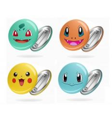 SPILLE ROTONDE - POKEMON - Starter Prima Generazione - Pikachu Charmander - BADGE - PERSONALIZZABILI! - High Quality