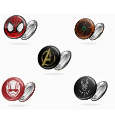 SPILLE ROTONDE - LOGHI MARVEL COMICS - AVENGERS - Spiderman - Black Panther - BADGE - PERSONALIZZABILI! - High Quality